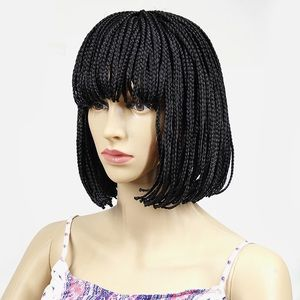 Short box braided lace frontal wig